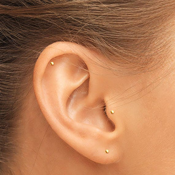 14K Gold Tragus Stud Gold Helix Stud Gold Cartilage Stud