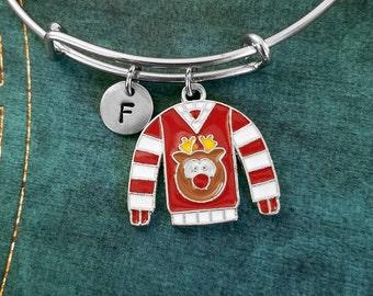 Ugly Christmas Sweater Bracelet Red and White Sweater Bangle Christmas Bracelet Initial Bracelet Charm Bracelet Expandable Bangle Adjustable