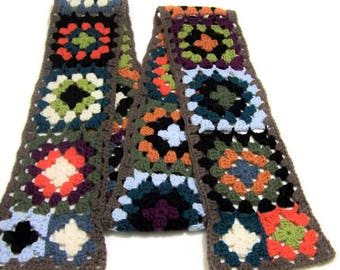 Hippie Scarf - Crochet Granny Square Scarf - Wool Neck Warmer - Muffler - Gift For Teen - Ready To Ship
