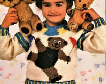 Toddlers and Childs Teddy Bear Picture Knitting Pattern pdf, size 22, 24, 26, 28, and 30 inch chest, double knit or worsted weight yarn