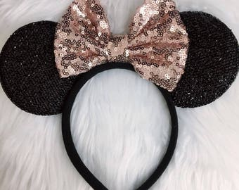 Rose gold sequin mickey minnie ears / sparkle Red ears / disney mickey Minnie Gold / Rose gold headband/Disney party