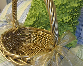 Basket Gathering Vintage Basket Gold Basket Woven Basket Gift Storage Table Decor Centerpiece Home Decor Cottage Chic Wedding Decor