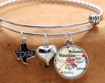 Map Charm Bracelet Houston Texas State Of TX Bangle Cuff Bracelet Vintage Map Jewelry Stainless Steel Bracelet Gifts For Her