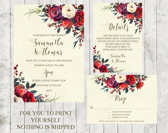 winter wedding invitation, christmas wedding invitation, Printable winter wedding invitation, winter wedding invitation suite, YOU PRINT