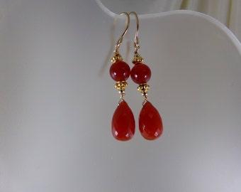 Carnelian briolette  dangle earrings 14k gold filled gemstone handmade item 883