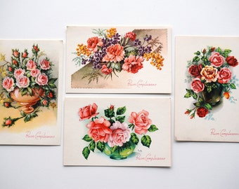 Birthday Cards Italian Happy Birthday, 4 vintage MidCentury postcards, rose flowers 1950s vintage cards