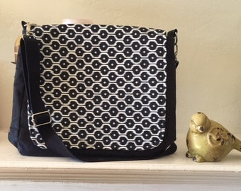 Black and White Messenger Bag w/Adjustable strap