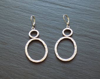 Hammered Silver Double Drop Earrings