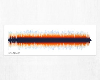 I Want Crazy - Lyrics Country Song Sound Wave Art - Personalized Gift for Country Music Lovers, Musicians, Men, Women