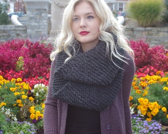 Charcoal Grey Knitted Infinity Scarf/Fall Fashion