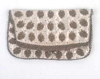 Vintage 1960s Ivory Hand Beaded Clutch Evening Bag
