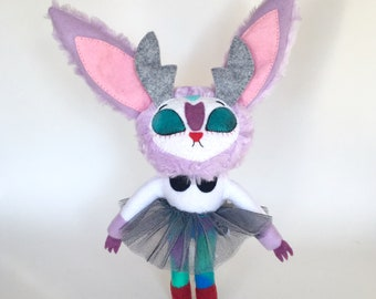 Purple Jackalope Plush Stuffed Animal with Tulle Skirt - Easter Gift - Bunny - OOAK - Collectible Art Doll - Fiber Art - Cryptid