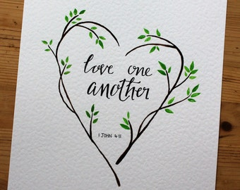 1 John 4:11 | Love one another | Scripture art | Handmade | Calligraphy