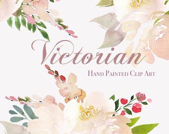 Hand Painted Watercolour Floral Arrangements - Victorian