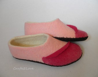 Wool slippers Womens felted slippers Felt slippers with soles Woolen house shoes Romantic gift to yourself or your loved one!