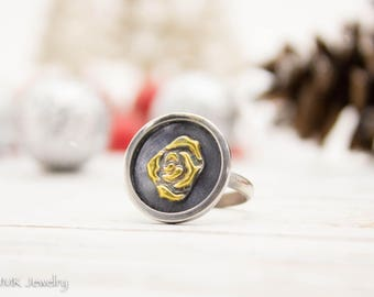 Flower Ring, Silver Ring, Gold Ring, Boho Ring, Boho Jewelry, Rose Ring, Flower Jewelry, Sterling Silver Ring, JMK Jewelry, size 7