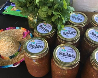 "CUSTOM 2"" homemade salsa stickers labels -Personalized - Favor -KRAFT or WHITE - round/circle seals/Stickers/labels - fits mason jar"