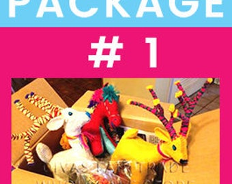 Woolly Amigos Pack # 1 - Save even more! Assorted selection. Fair Trade. Natural Wools. Ships from Minnesota, US. Over 12 years in business.