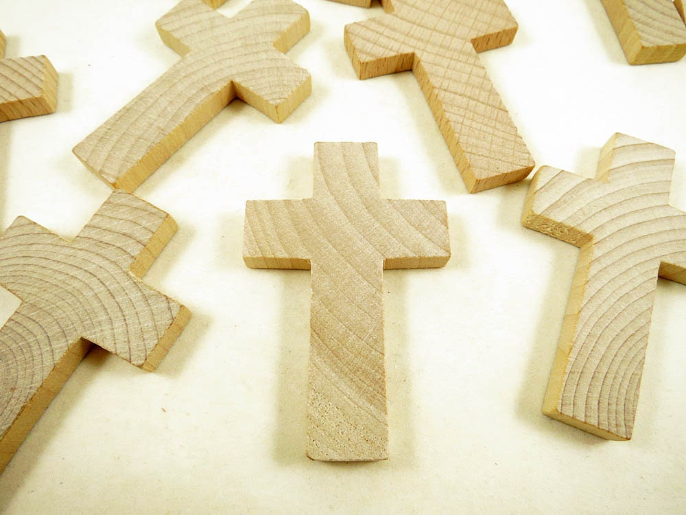 10 Wood Crosses - 2 3/4 inch - Wood Cross - Cross Pendant - Holiday ...