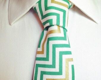 The Telford Tie / Wedding Tie / Groomsman Tie / Mens Cotton Tie / Chevron Tie / Green and Gold Tie