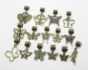 30pcs/lot Mix bronze butterfly charms big hole beads bracelet DIY pendants