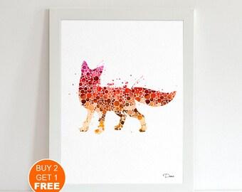 Fox watercolor print 2, animal art, Fox Illustration, fox art, Fox illustration Nursery art, home decor, wall art, animal print