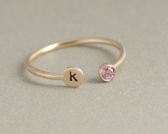 personalized dual birthstone ring. GOLD. initial. gemstone stacking ring. 14k gold-filled. mothers ring. horseshoe ring. birthstone ring.