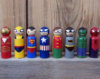 """Superhero- SINGLE PEG-  Peg People - Your Choice of ONE - 3.5"""" Perfect for a Cake Topper"""
