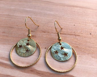 Earrings with Golden starry pastille he lor end and twisted ring
