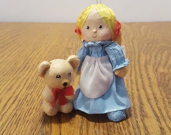 Girl and Teddy Bear Paper Mache Christmas Decoration