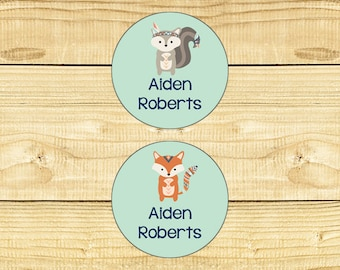 48 Circle Personalized Waterproof Labels Waterproof Stickers Dishwasher Safe Daycare Label School - Forest Friends 002