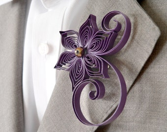 Amethyst Wedding, Purple Wedding Boutonniere, Violet Boutonniere Alternatives, Plum Buttonhole Flower, Purple Corsage for Guys