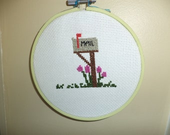 "Cross Stitched ""Mailbox"" Picture"