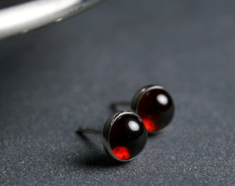 6mm Garnet cabochon and sterling silver bezel set stud earrings