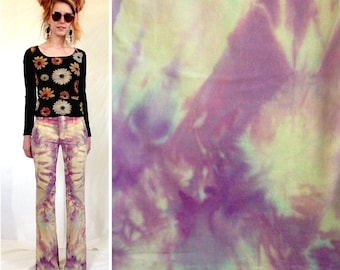 Ice Dyed Pants, Tie Dye Pants, Size 0 / 1 / XS, Casual Dyed Pants, Upcycled Dyed, Remade Pants, Purple Tie Dye, Tie Dye Flares, Dyed Pants