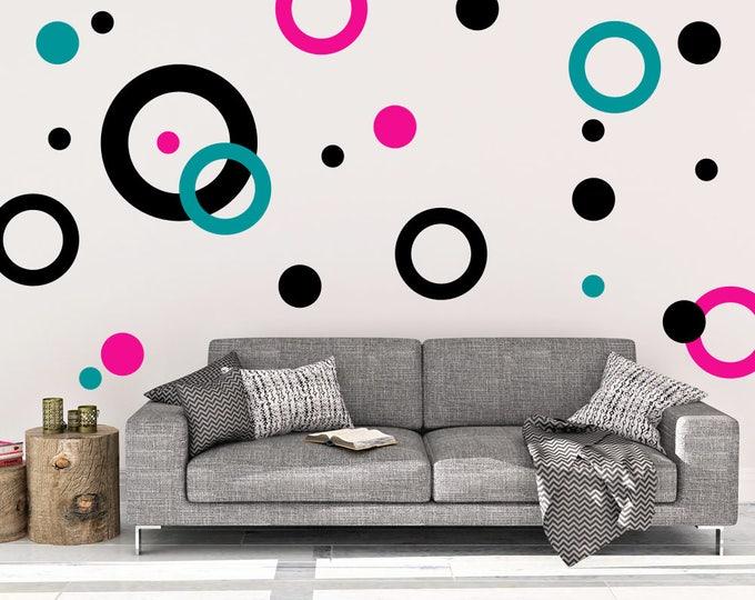 Rings and Dots Wall Decal - Rings Wall Decal - Vinyl Wall Decal - Dots - Rings Wall Decal - Decal - Dots Wall Decor - Polka Dot Home Decor