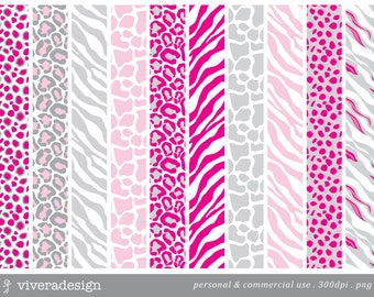 Digital Paper Pack - Pink, White and Light Grey Animal Prints - 10 digital papers