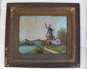 Antique Reverse Glass Painting -  The Mill House  --Ornate Wooden Frame - 1800s