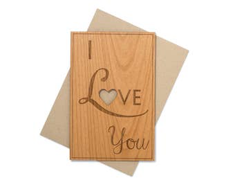 I Love You Card. Love Wood Card for Wedding Anniversary.