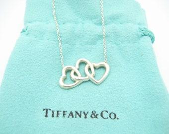 "Tiffany & Co. Sterling Silver Triple Heart Pendant Necklace 15"""