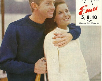 PDF Knitting Pattern His and Hers Sweater Jumper, 5 ply / 8 Ply / 10 ply, Sz 32 - 44""