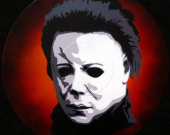 Michael Myers Halloween Spray Paint and Stencil Vinyl Record Art