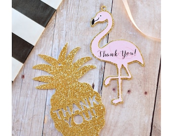 Gold Glitter Pineapple or Flamingo shape Thank You Tags