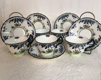 1920's Art Deco Royal Doulton Set of 5 Cups and Saucers J-14