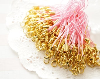 10 pcs Cell Phone Straps with Lobster Clasp Gold / Light Pink YU034