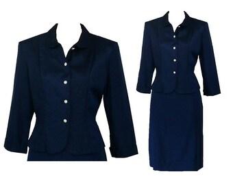 Polished Professional - Vintage 1950's Blue Skirt Suit - Medium