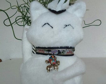 Maneki Neko White Cat  handsewn