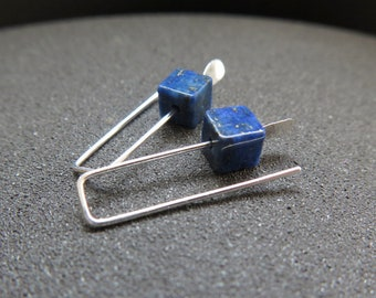 small lapis lazuli earrings. blue stone jewelry. small silver earings. cube earrings.