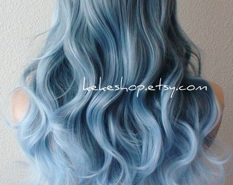 Ombre wig. Lace Front wig. Blue Ombre wig. Pastel silver blue wig. Wavy hair wig. Durable heat friendly wig for daily use or Cosplay