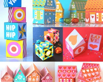 Gift box templates - 7 printable sets. Perfect for special gifts or for party favors! Download templates to print & make - by Happythought.